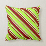[ Thumbnail: Light Green, Dark Red, and Beige Colored Stripes Throw Pillow ]