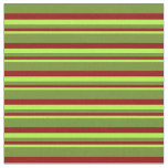 [ Thumbnail: Light Green, Dark Red, and Green Colored Stripes Fabric ]