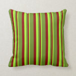 [ Thumbnail: Light Green, Dark Red, and Green Colored Stripes Throw Pillow ]