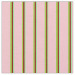 [ Thumbnail: Light Green, Dark Red, Green & Pink Colored Lines Fabric ]
