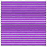 [ Thumbnail: Light Green & Dark Violet Stripes Fabric ]