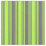 [ Thumbnail: Light Green & Dim Gray Colored Stripes Fabric ]