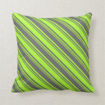 [ Thumbnail: Light Green & Dim Grey Colored Pattern Pillow ]