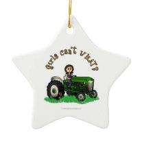Light Green Farmer Girl Ceramic Ornament