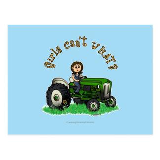 Light Green Farmer Girl Postcard