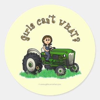 Light Green Farmer Girl Round Stickers