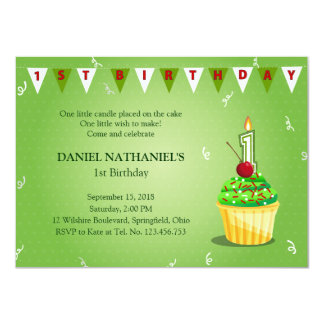 Light Green First Birthday PartyCupcake Invitation