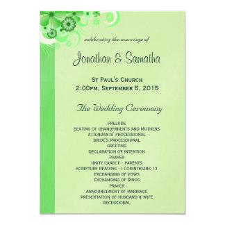 Light Green Floral Flat Wedding Program Templates Card