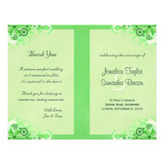 Light Green Floral Folded Wedding Program