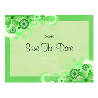 Light Green Floral Save The Date Announcement Card