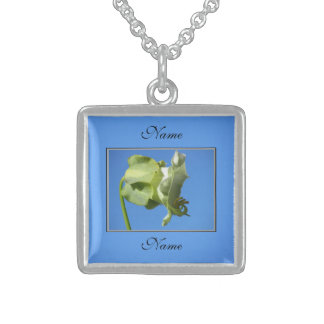 Light Green Flower Sterling Silver Necklace