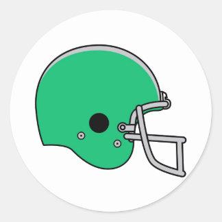 Light Green Football Helmet Classic Round Sticker