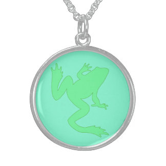 Light Green Frog Aquamarine Sterling Silver Necklace