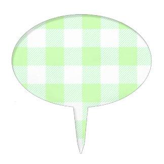 Light Green Gingham Check Pattern Cake Topper