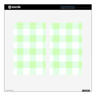 Light Green Gingham Check Pattern Kindle Fire Skin