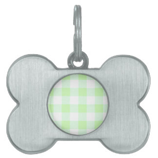 Light Green Gingham Check Pattern Pet ID Tag