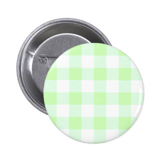 Light Green Gingham Check Pattern Pinback Button