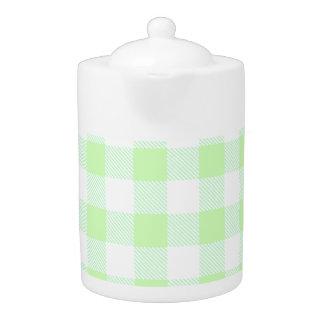 Light Green Gingham Check Pattern Teapot