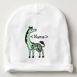 Light Green Giraffe with Black Spots Baby Beanie