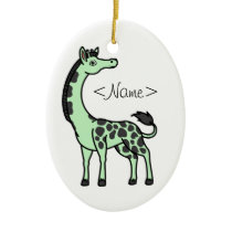 Light Green Giraffe with Black Spots Ceramic Ornament