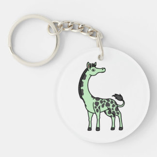 Light Green Giraffe with Black Spots Single-Sided Round Acrylic Keychain