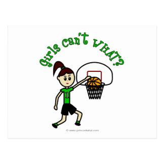 Light Green Girls Basketball Postcard