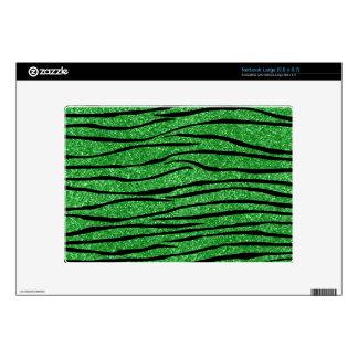 Light green glitter zebra stripes decals for large netbooks