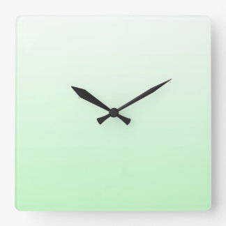 Light Green Gradient Jade Clear to Green Pastel Square Wall Clock