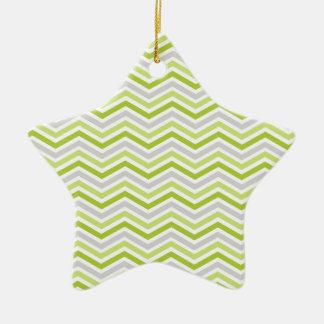 Light Green Gray and White Chevron Stripes Ornaments
