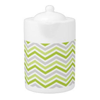 Light Green, Gray, and White Chevron Stripes Teapot