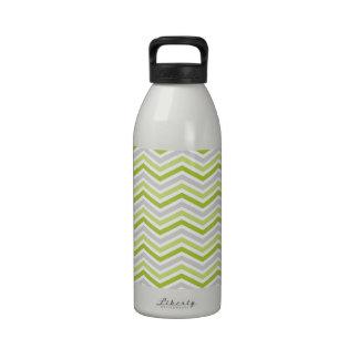 Light Green, Gray, and White Chevron Stripes Reusable Water Bottle