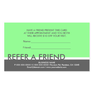Light green gray simple refer a friend cards business card