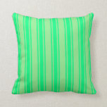 [ Thumbnail: Light Green & Green Colored Lined Pattern Pillow ]