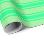 [ Thumbnail: Light Green & Green Colored Lined Pattern Wrapping Paper ]