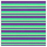 [ Thumbnail: Light Green, Green & Indigo Stripes Fabric ]