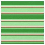 [ Thumbnail: Light Green, Green, Sienna & Tan Colored Stripes Fabric ]