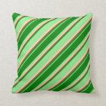 [ Thumbnail: Light Green, Green, Sienna & Tan Colored Stripes Throw Pillow ]