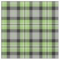 Light Green, Grey, Black and White Plaid Fabric