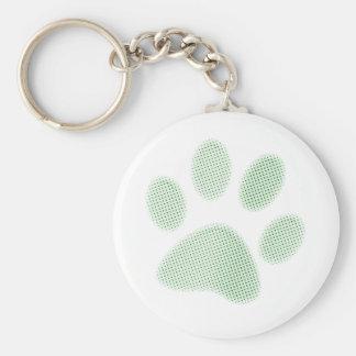 Light Green Halftone Paw Print Keychain