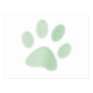 Light Green Halftone Paw Print Postcard