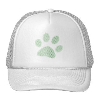 Light Green Halftone Paw Print Trucker Hat