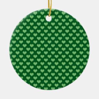 Light Green Heart Pattern Dark green Background Ceramic Ornament