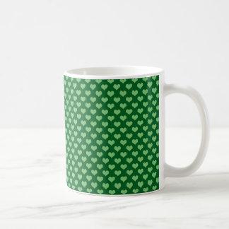 Light Green Heart Pattern Dark green Background Coffee Mug