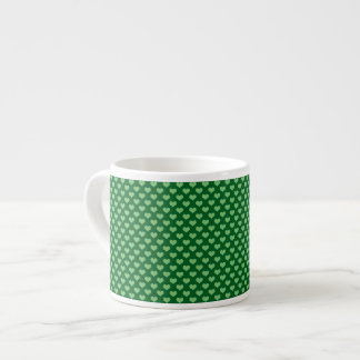 Light Green Heart Pattern Dark green Background Espresso Cup