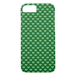 Light Green Heart Pattern Dark green Background iPhone 7 Case