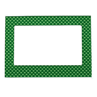 Light Green Heart Pattern Dark green Background Magnetic Picture Frame