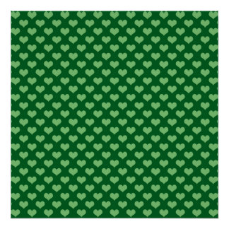 Light Green Heart Pattern Dark green Background Poster