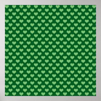 Light Green Heart Pattern Dark green Background Poster