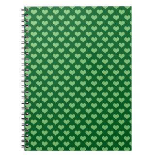 Light Green Heart Pattern Dark green Background Spiral Notebook