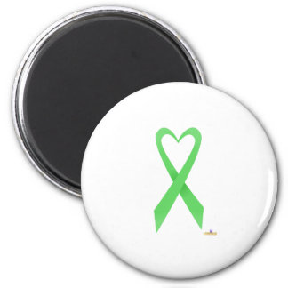 Light Green Heart Shaped Awareness Ribbon 2 Inch Round Magnet